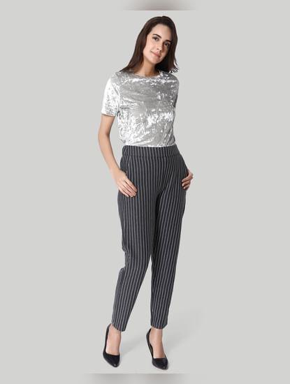 Dark Grey Striped Slim Fit Pants