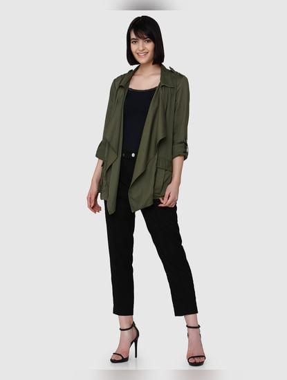 Olive Green Drape Front Open Jacket