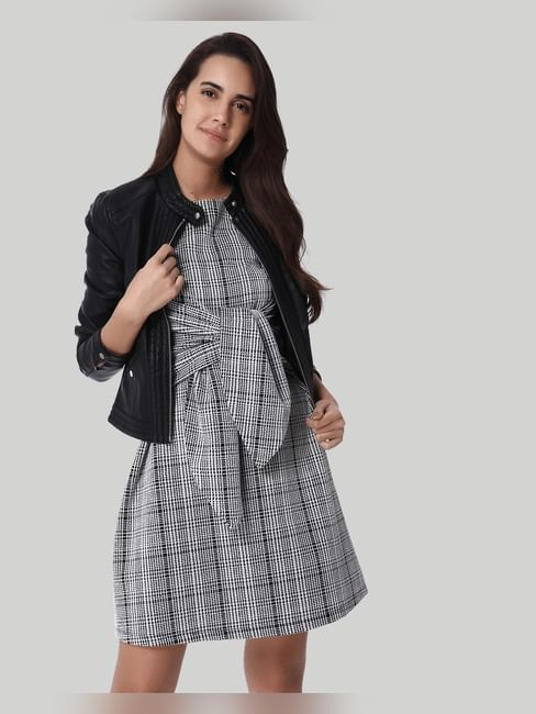 White Check Front Self Tie Shift Dress