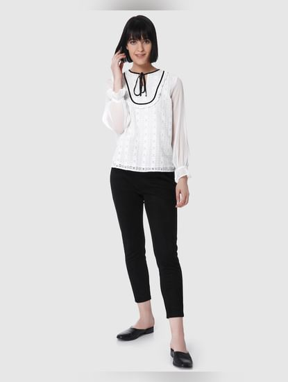 White Lace Tie Neck Top