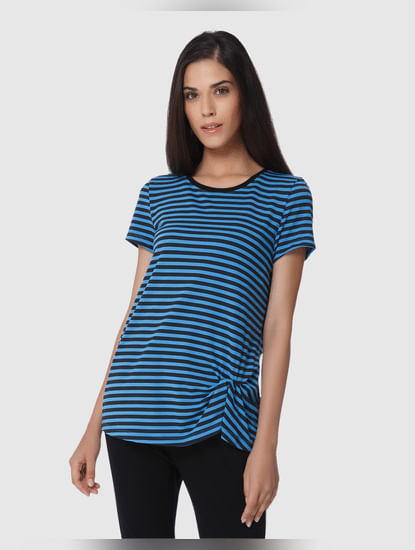 Black And Blue Striped Top