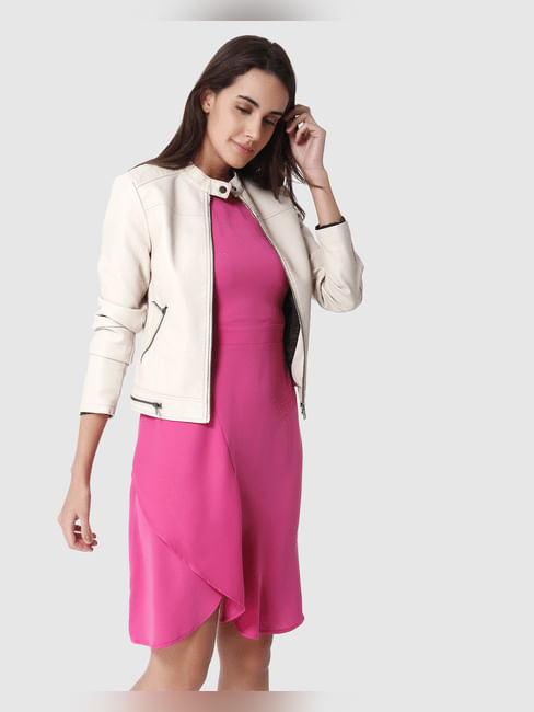 Dark Pink Capsleeves Layered Shift Dress