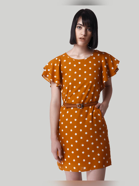 Mustard Polka Dot Shift Dress