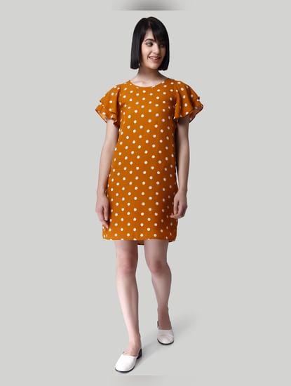 Mustard Polka Dot Shift Dress