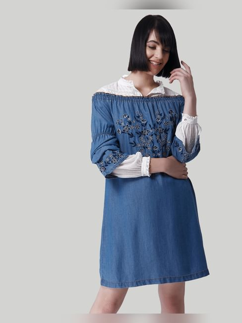 Blue Off Shoulder Embroidered Shift Denim Dress