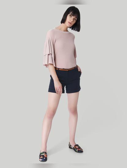 Dark Blue Mid Rise Slim Fit Shorts