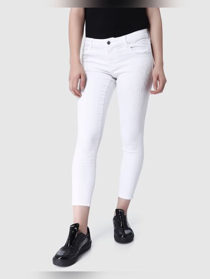 White Embroidered Low Rise Skinny Fit Jeans