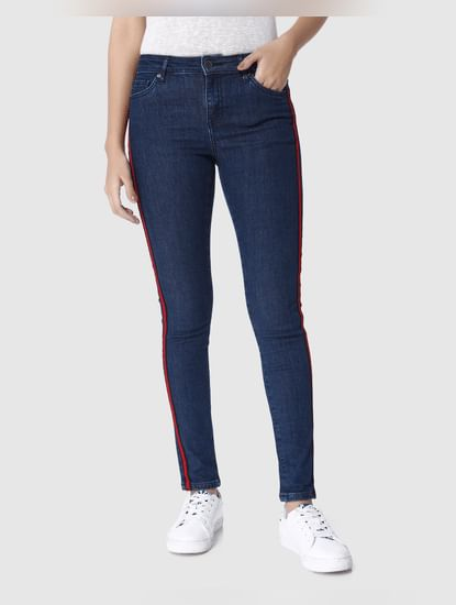 Dark Blue Mid Rise Tape Detail Skinny Fit Jeans
