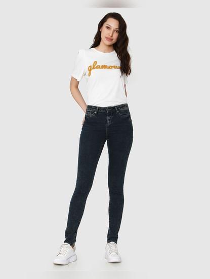 Dark Grey Mid Rise Skinny Fit Jeans