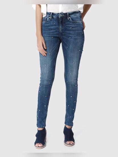 Blue Stone Embellished Mid Rise Skinny Fit Jeans