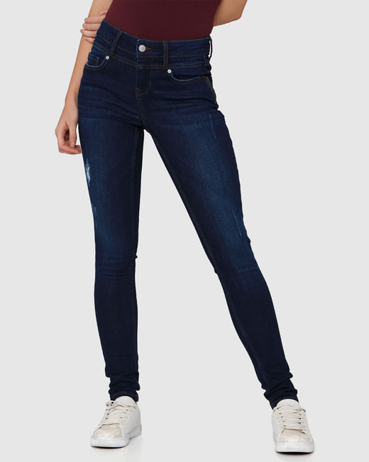 Dark Blue Distressed Mid Rise Skinny Fit Jeans