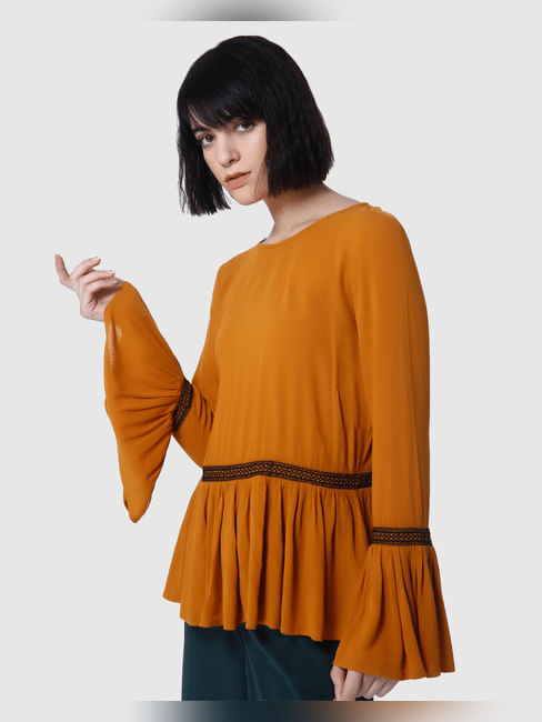 Mustated Flared Sleeves Top