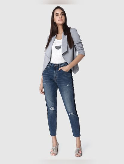 Blue Mildly Distressed High Waist Anti-Fit Jeans