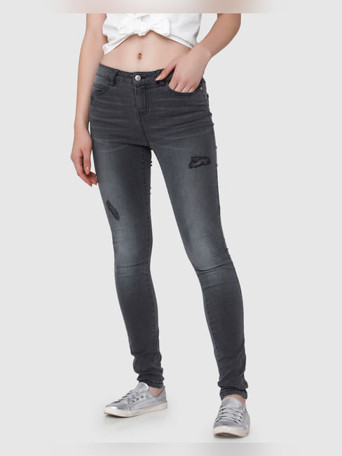 Grey Mid Rise Skinny Fit Jeans