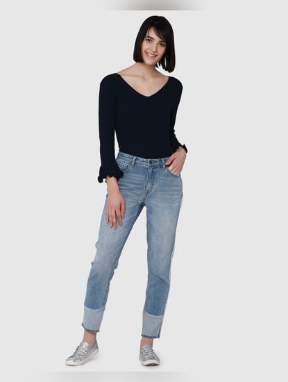 Blue Mid Rise Anti-Fit Jeans
