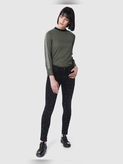 Dark Grey Embellished Mid Rise Skinny Fit Jeans