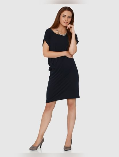 Dark Grey Side Tucked Shift Dress