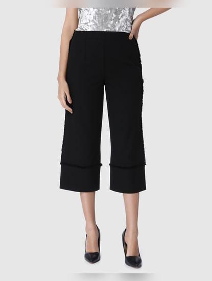 Black Frayed Detail Cropped Wide Leg Pants