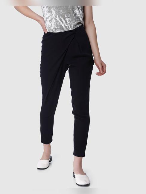 Navy Blue Mid Rise Regular Fit Pants