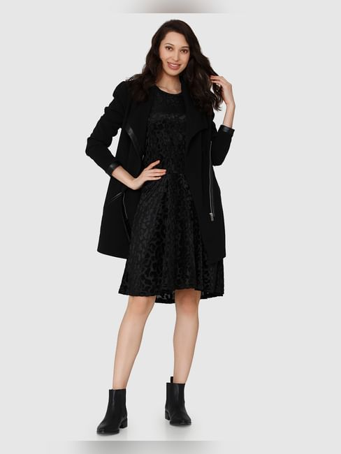 Black Leopard Printed Long Sleeves Fit & Flare Dress
