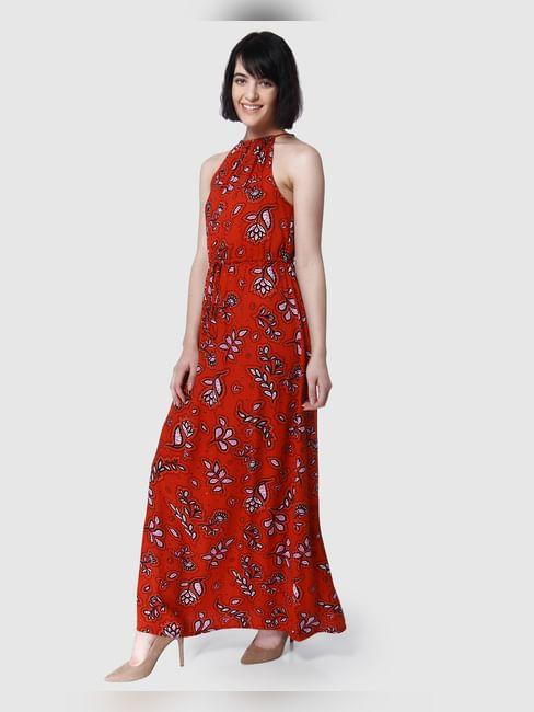 Red Floral Print Halter Neck Maxi Dress