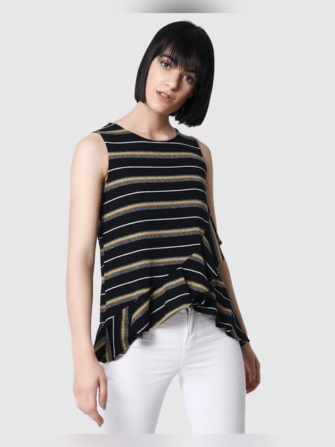 Black Striped Shimmery Flounce Top