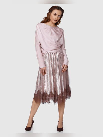 Pink Pleated Net Midi Skirt