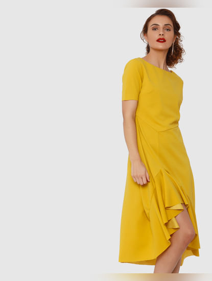 Mustard Asymetrical Flounce Midi Dress