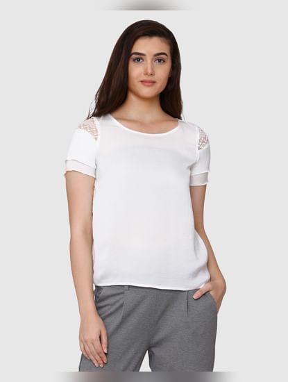 White Lace Detail Satin Top