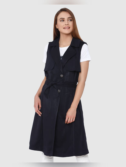 Navy Blue Peak Lapel Collar Front Tie Sleeveless Coat