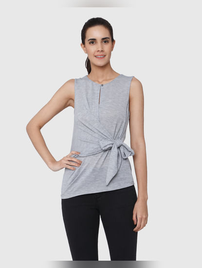 Grey Front Knot Sleeveless Top