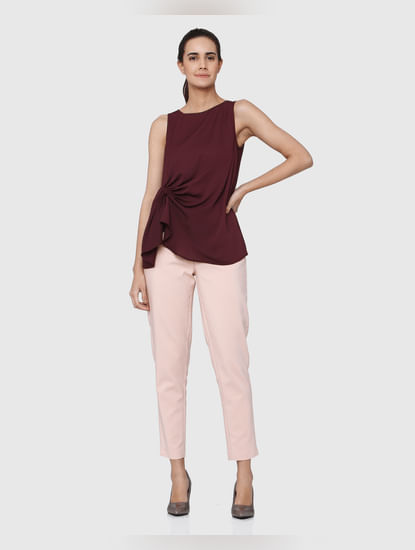 Burgundy Round Neck Sleeveless Top