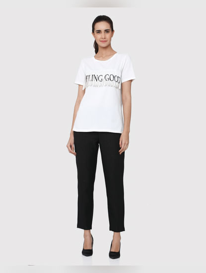 White Feeling Good Text Print Fringe Short Sleeves T-Shirt