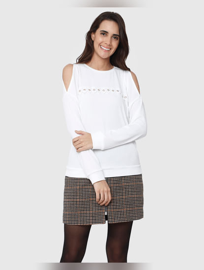White Knit Long Sleeves T-Shirt