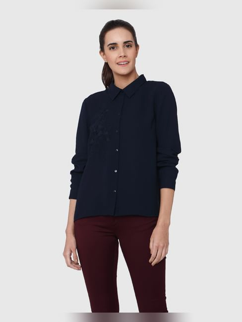 Dark Blue Embroidered Shirt