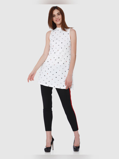 Mickey White All Over Print Side Split T-Shirt