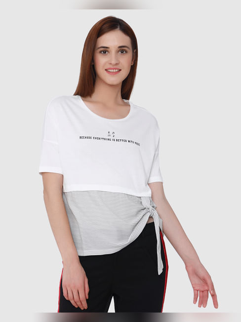 Mickey White Side Knot Text Print Top