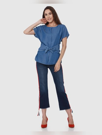 Blue Denim Front Tie Top