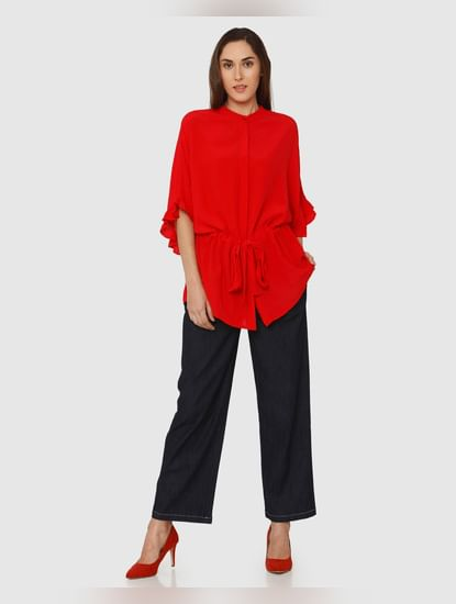 Red Tie Up Waist Flared Sleeves Top