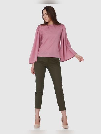 Pink Flared Sleeves Top