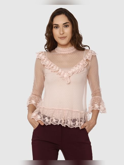 Pink Lace Detail Ruffled Sheer Top