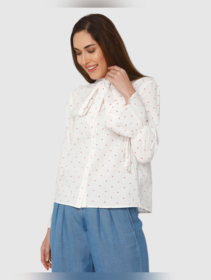 White Polka Dot Print Neck Bow Detail Flared Sleeves Shirt