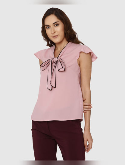 Pink Front Tie Up Bow Top