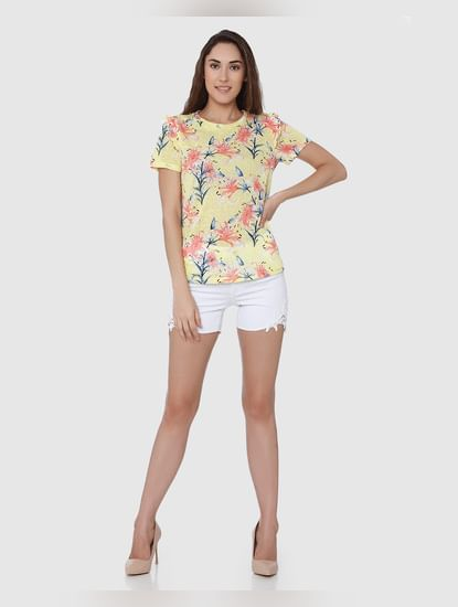 Yellow Floral Print T-Shirt