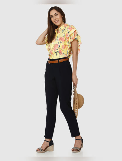 Yellow All Over Floral Print Flared Sleeves Shirt