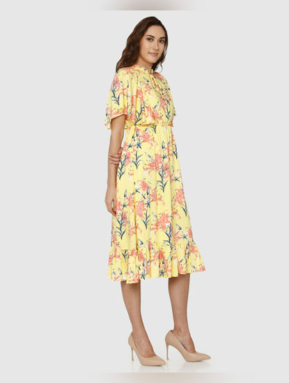 Yellow All Over Floral Print High Neck Flared Midi Dress