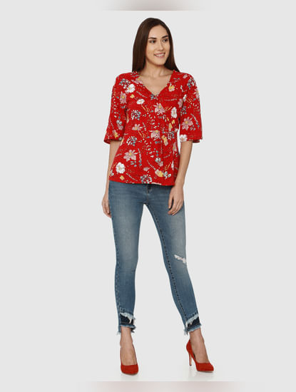 Red All Over Floral Print Top