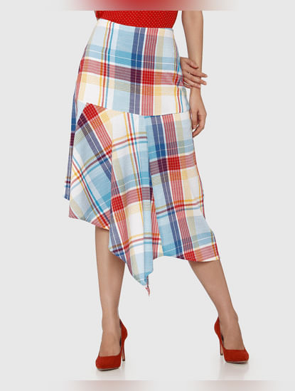 White Mid Rise Checks Asymmetric Midi Skirt