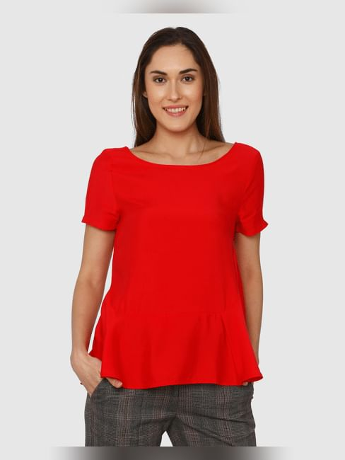 Red Peplum Flounce Top