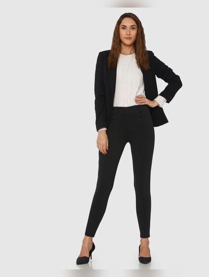 Dark Grey Mid Rise Button Detail Ankle Length Skinny Fit Leggings